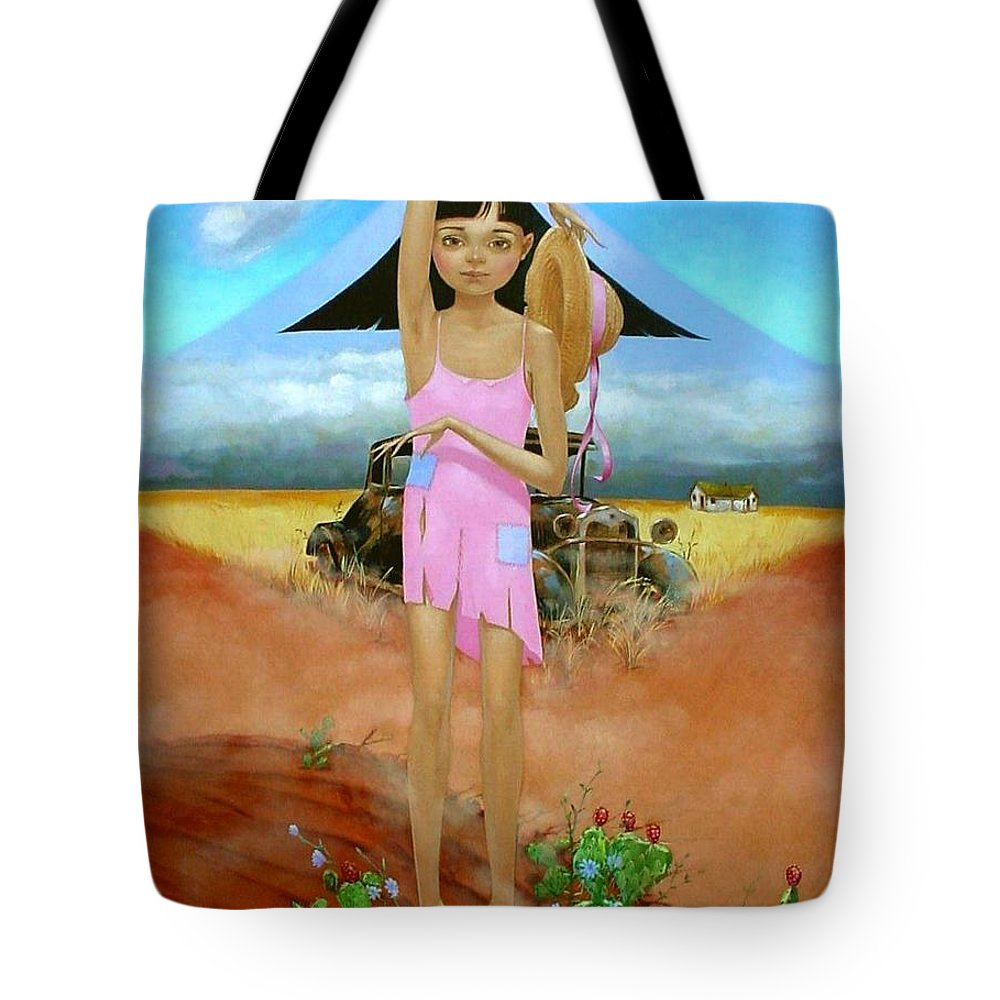 Country Girl Tote Bag featuring the painting Oklahoma Girl With Mt.fuji by Jerrold Carton