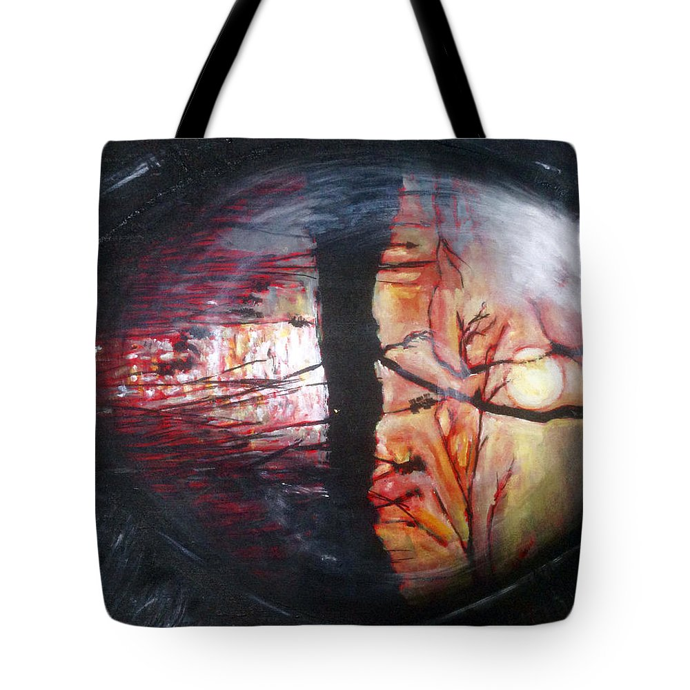 Landscape Tote Bag featuring the painting Oko Machac by Pablo de Choros