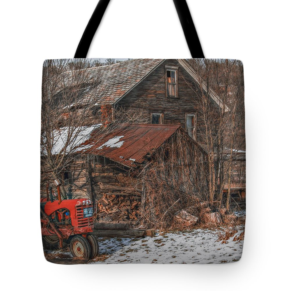 Abandoned Tote Bag featuring the digital art Old Abandoned Farm Homestead by Randy Steele