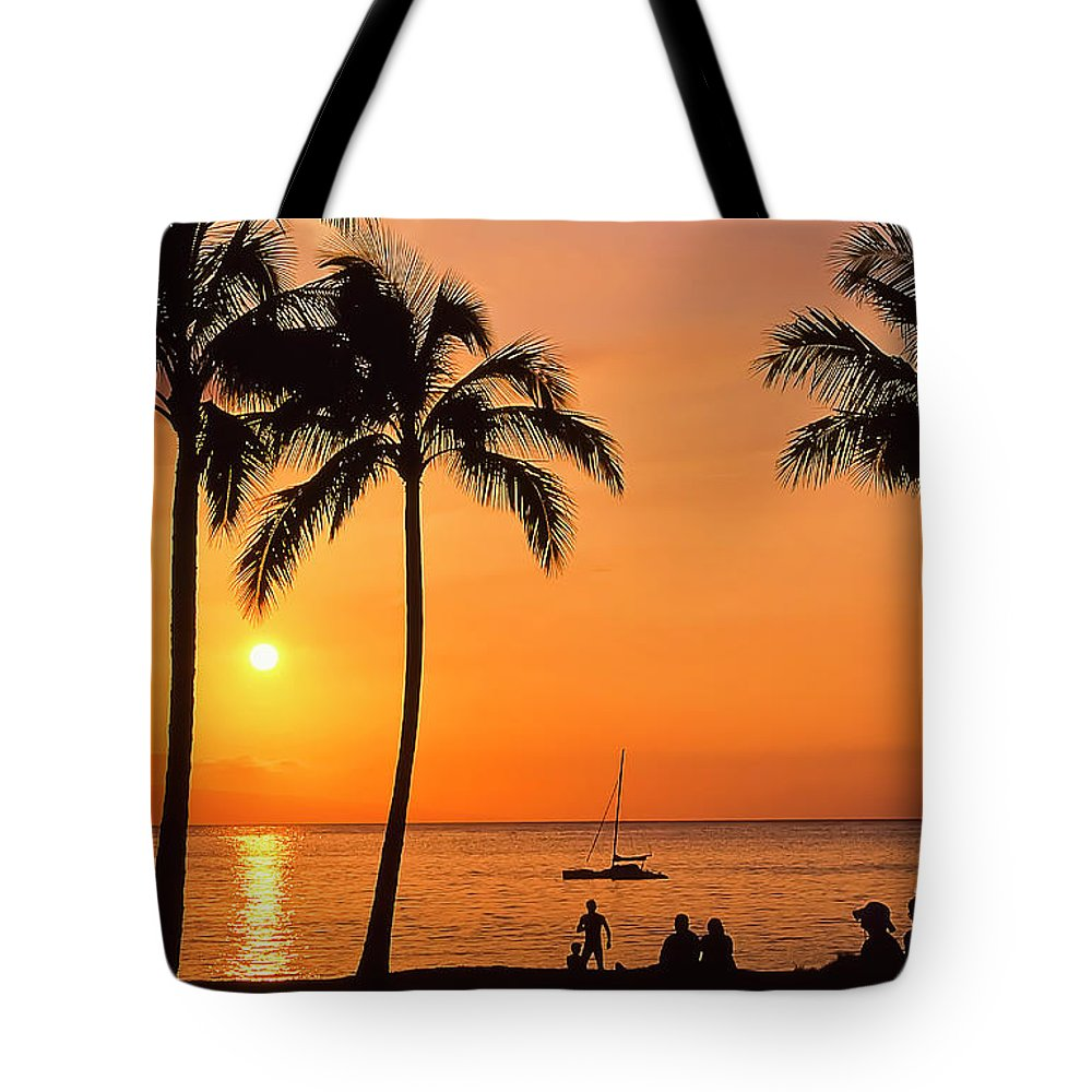 Hawaii Tote Bag featuring the photograph Old Airport Beach Sunset by Jim Cazel
