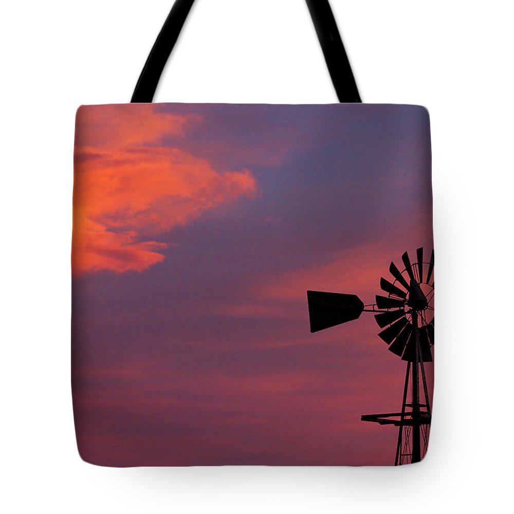 Country Tote Bag featuring the photograph Old American Farm Windmill With A Sunset by James BO Insogna