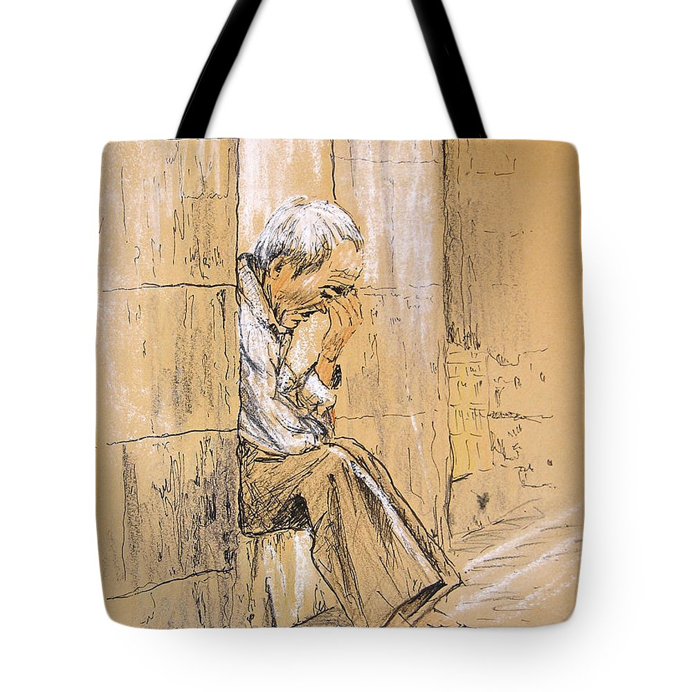 Pastel Tote Bag featuring the drawing Old And Lonely In Spain 01 by Miki De Goodaboom