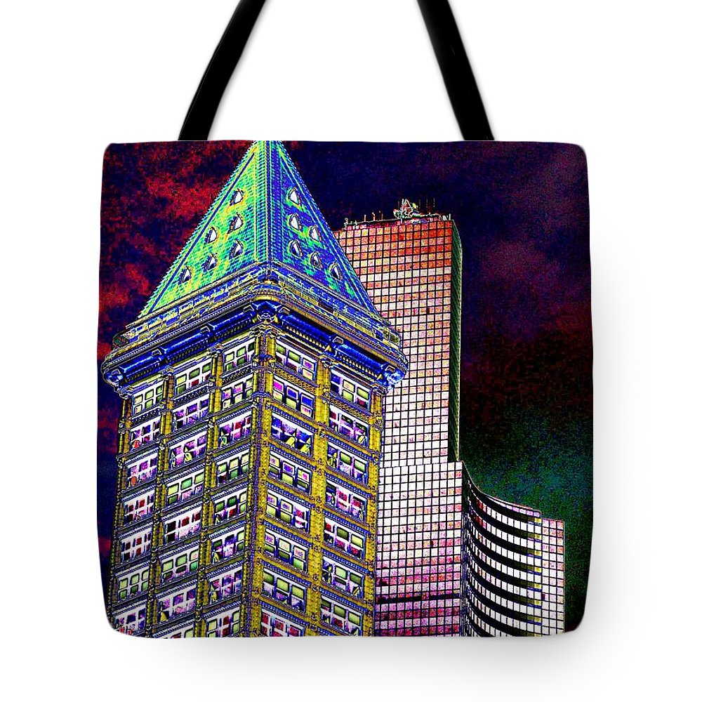 Seattle Tote Bag featuring the photograph Old And New Seattle 2 by Tim Allen