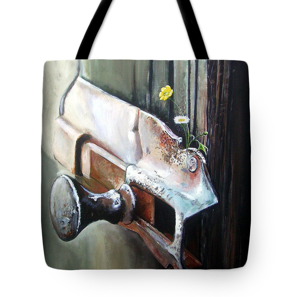 Rusty Old Flowers Buttercup Dasiy Green Wood Tote Bag featuring the painting Old And Rusty by Arie Van der Wijst