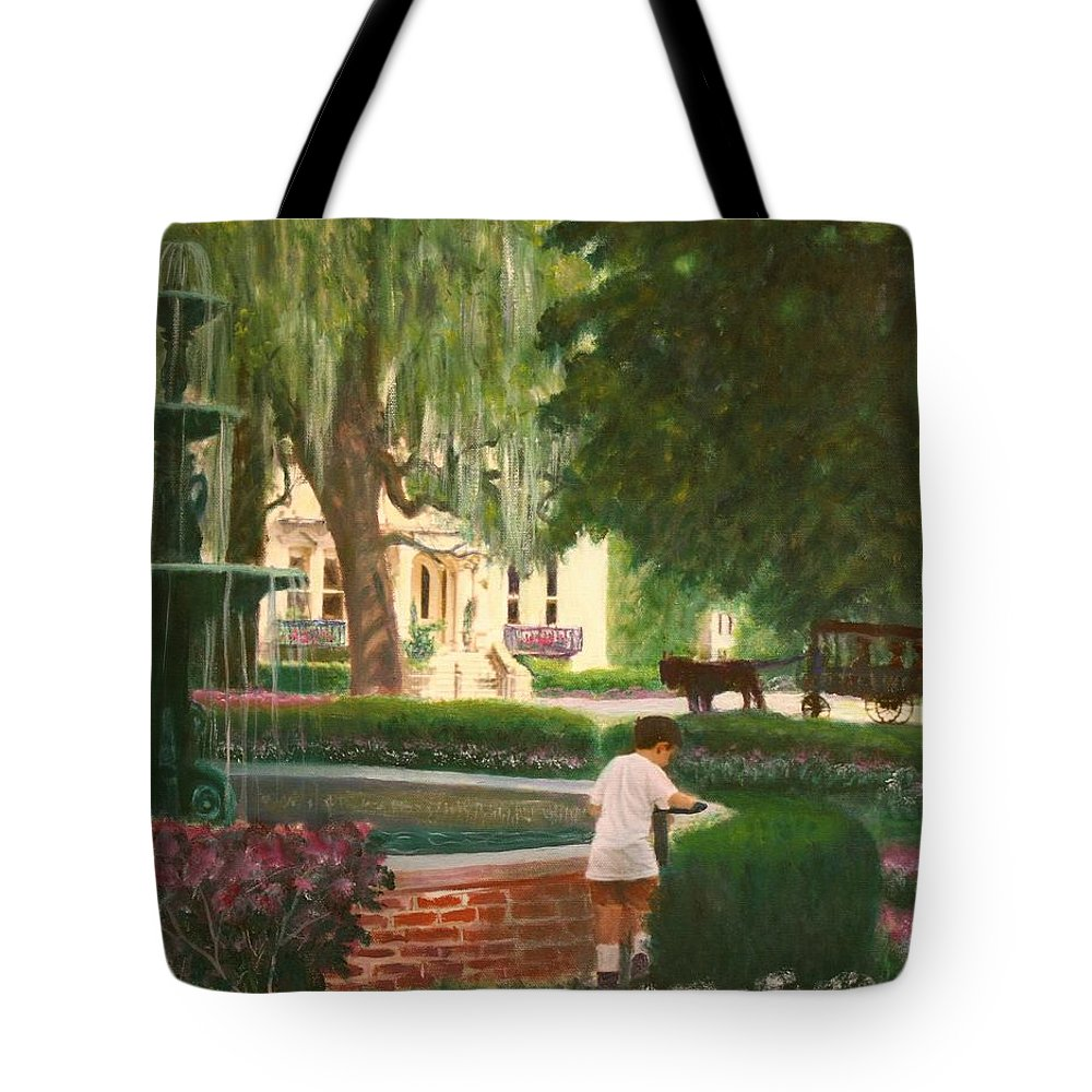 Savannah; Fountain; Child; House Tote Bag featuring the painting Old And Young Of Savannah by Ben Kiger