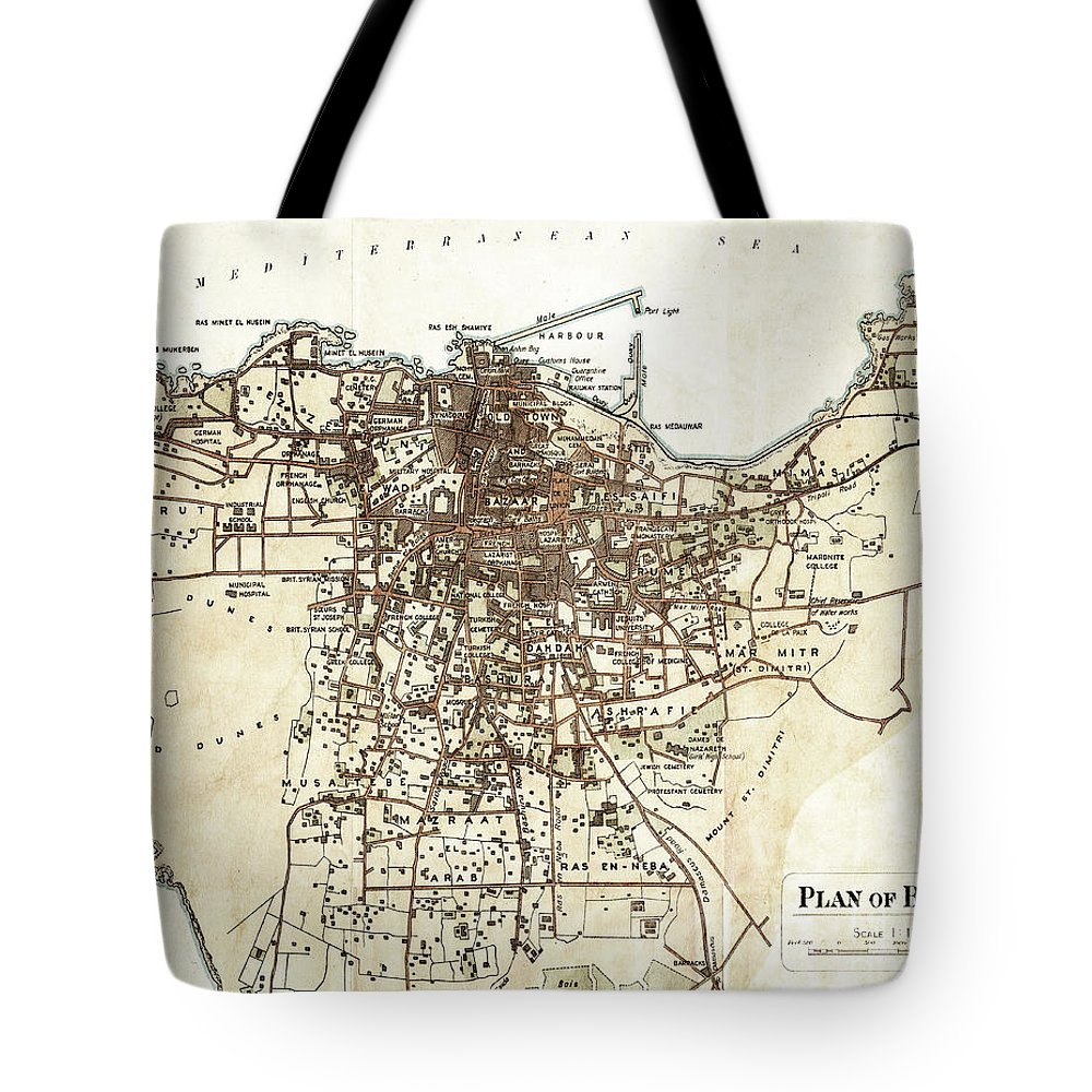 Old Antique City Map Beirut Lebanon Tote Bag