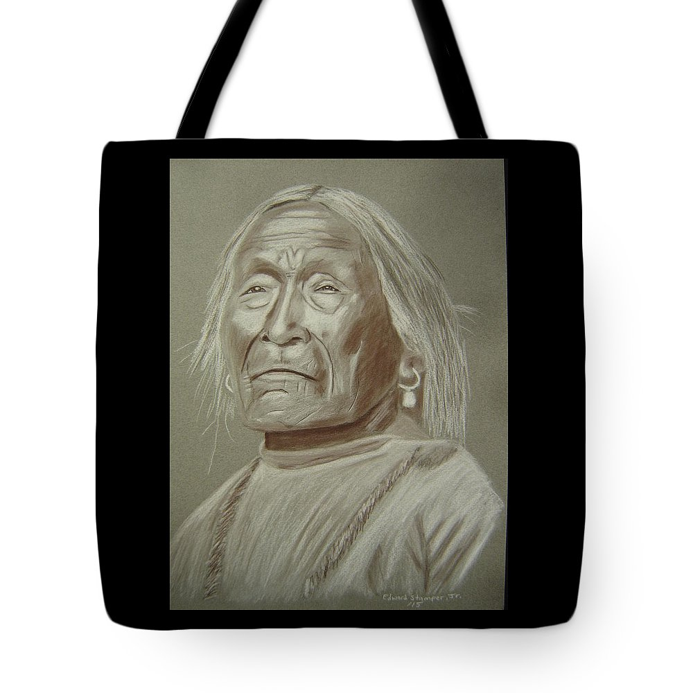 Apache Tote Bag featuring the drawing Old Apache Scout by Edward Stamper