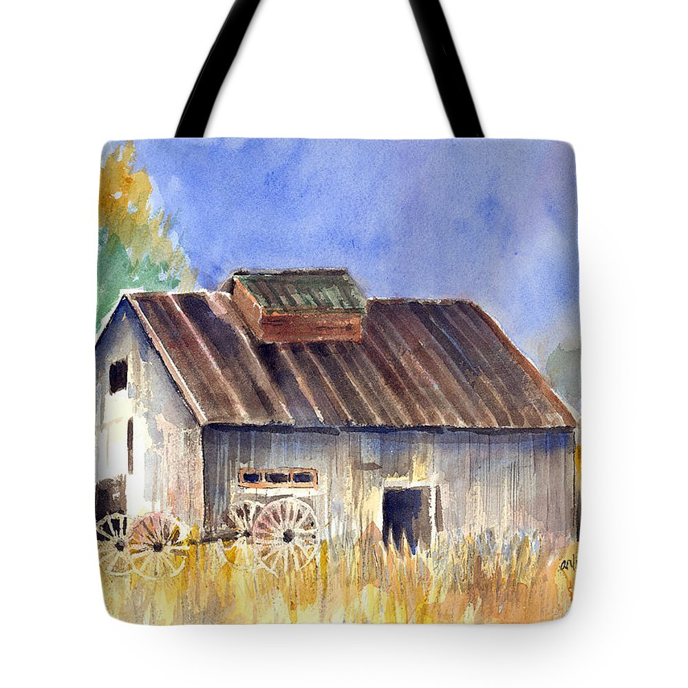 Barn Tote Bag featuring the painting Old Barn by Arline Wagner