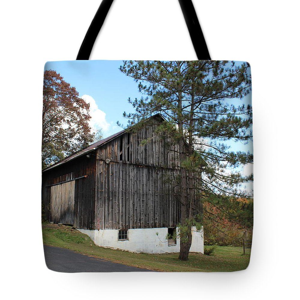 Landscape Tote Bag featuring the photograph Old Barn by Cheryl Kostanesky