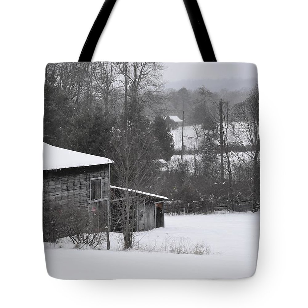 Snow Tote Bag featuring the photograph Old Barn In Winter Scenery by Hughes Country Roads Photography