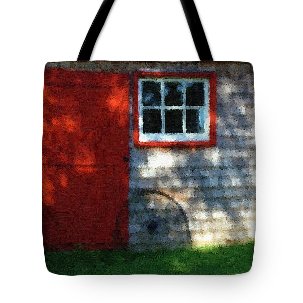 Autumn Tote Bag featuring the painting Old Barn New Paint by RC DeWinter