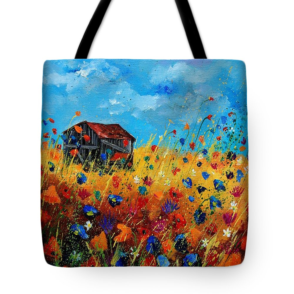 Poppies Tote Bag featuring the painting Old Barn by Pol Ledent