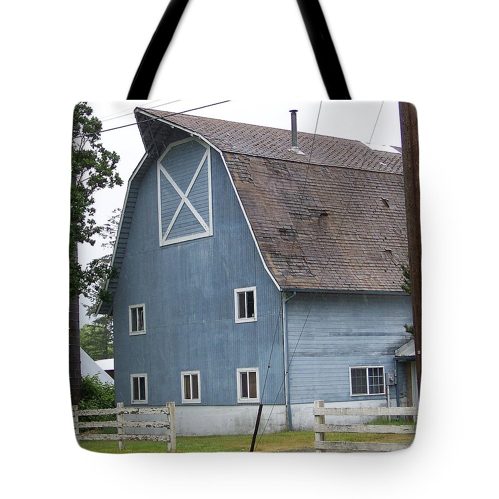 Old Tote Bag featuring the photograph Old Blue Barn Littlerock Washington by Laurie Kidd