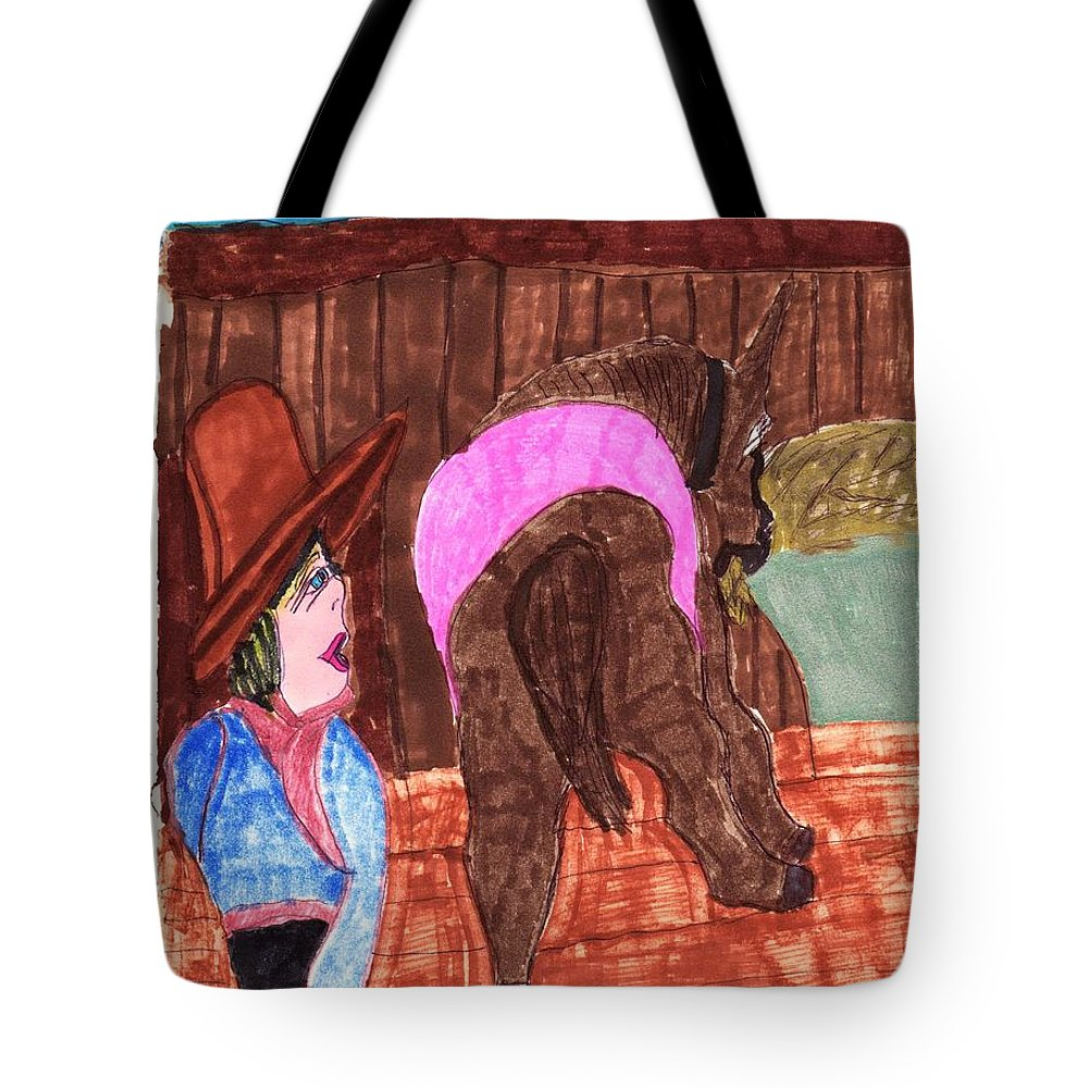 An Old Horse Eating Hay With His Owner In The Barn Near Her Tote Bag featuring the mixed media Old Blue by Elinor Helen Rakowski