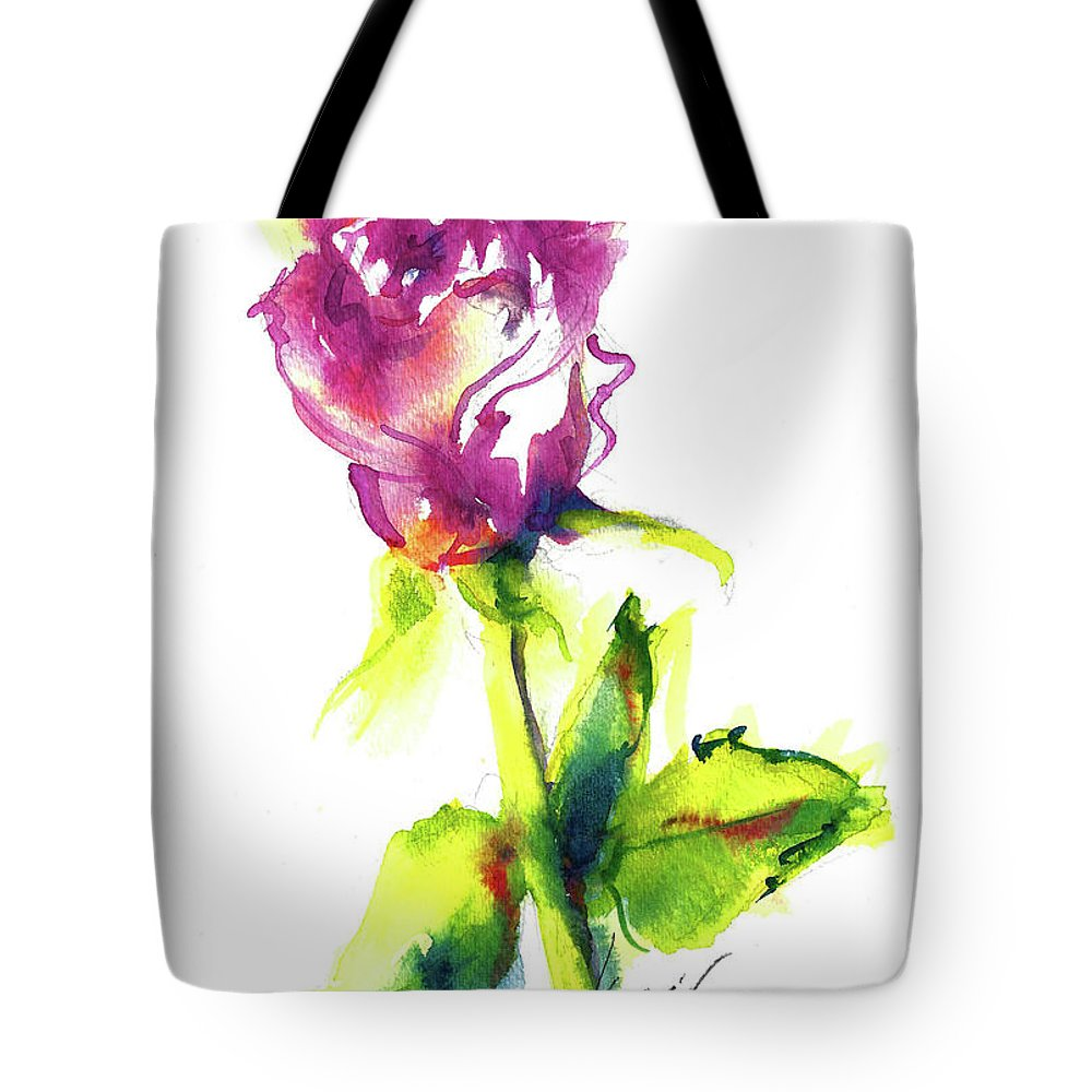 Painting Of Pink Rose Tote Bag featuring the painting Old Blush - Rose by Jacki Kellum