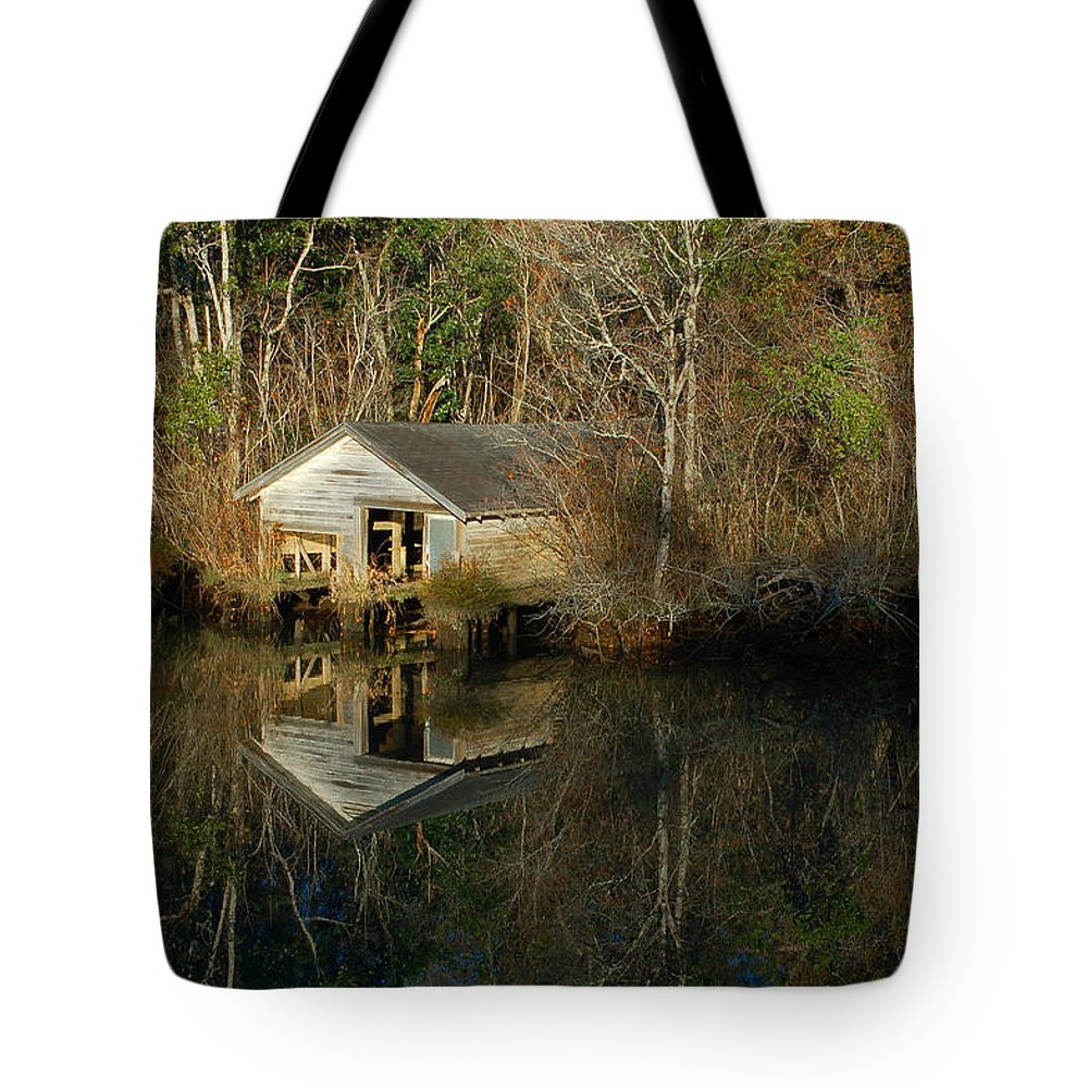 Tote Bag featuring the digital art Old Boat House by Michael Thomas