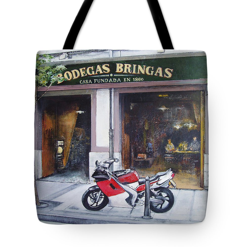 Bodegas Bringas Tote Bag featuring the painting Old bodegas Bringas by Tomas Castano