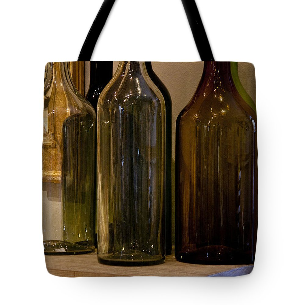 Bottles Tote Bag featuring the photograph Old Bottles by Donna Walsh