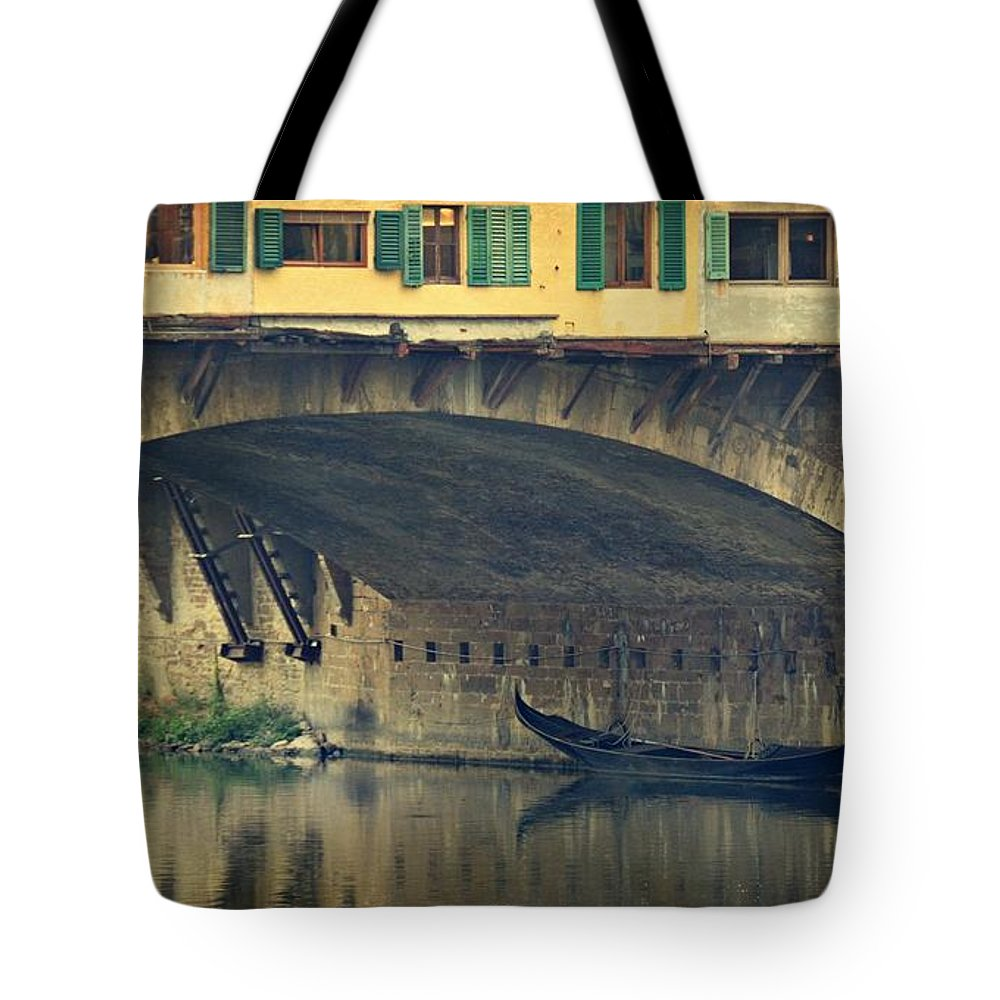 Bridges Tote Bag featuring the photograph Ponte Vecchio Protection by Toni Abdnour
