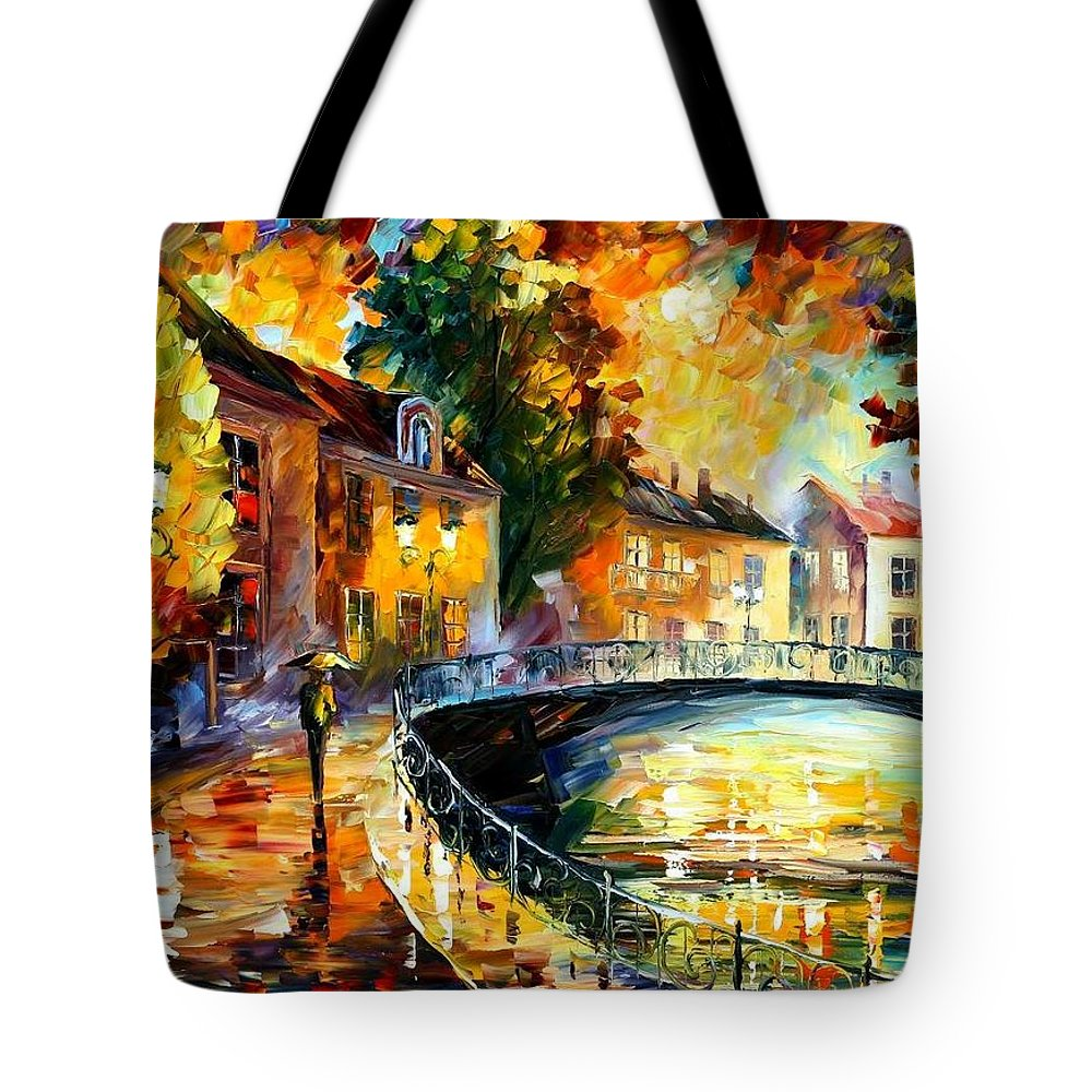 Afremov Tote Bag featuring the painting Old Bridge by Leonid Afremov