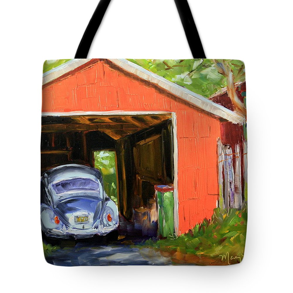 Vw Tote Bag featuring the painting Old Bug by Mary Beth Harrison