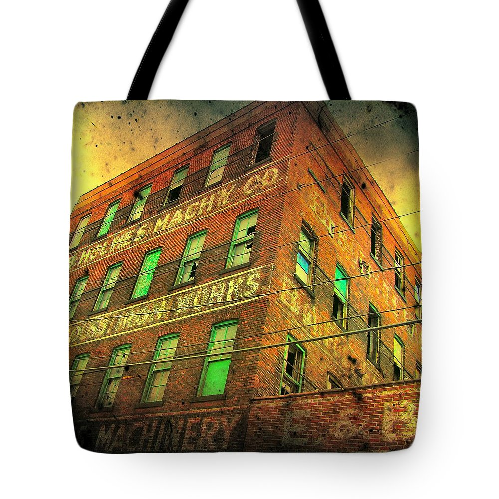 Architecture Tote Bag featuring the photograph Old Empty Building In Retro Colors by Gothicrow Images