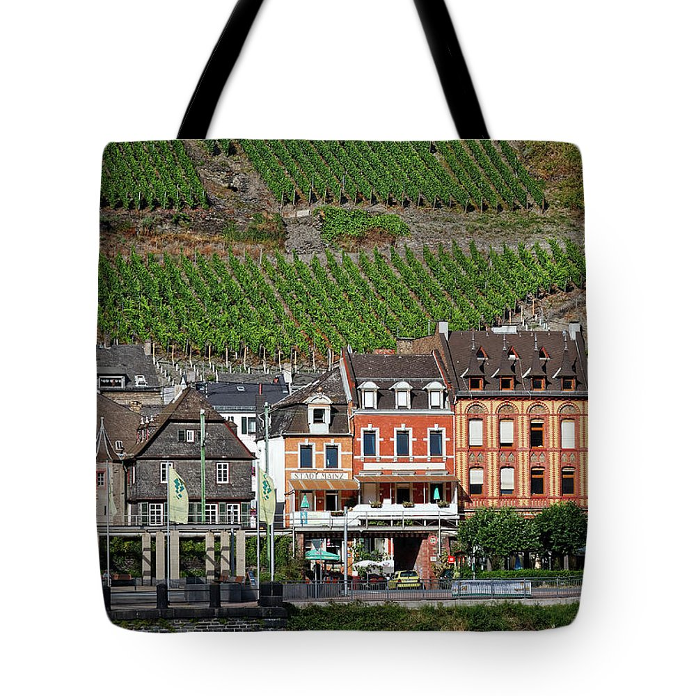 Old Town Tote Bag featuring the photograph Old Buildings And Vineyards by Sally Weigand