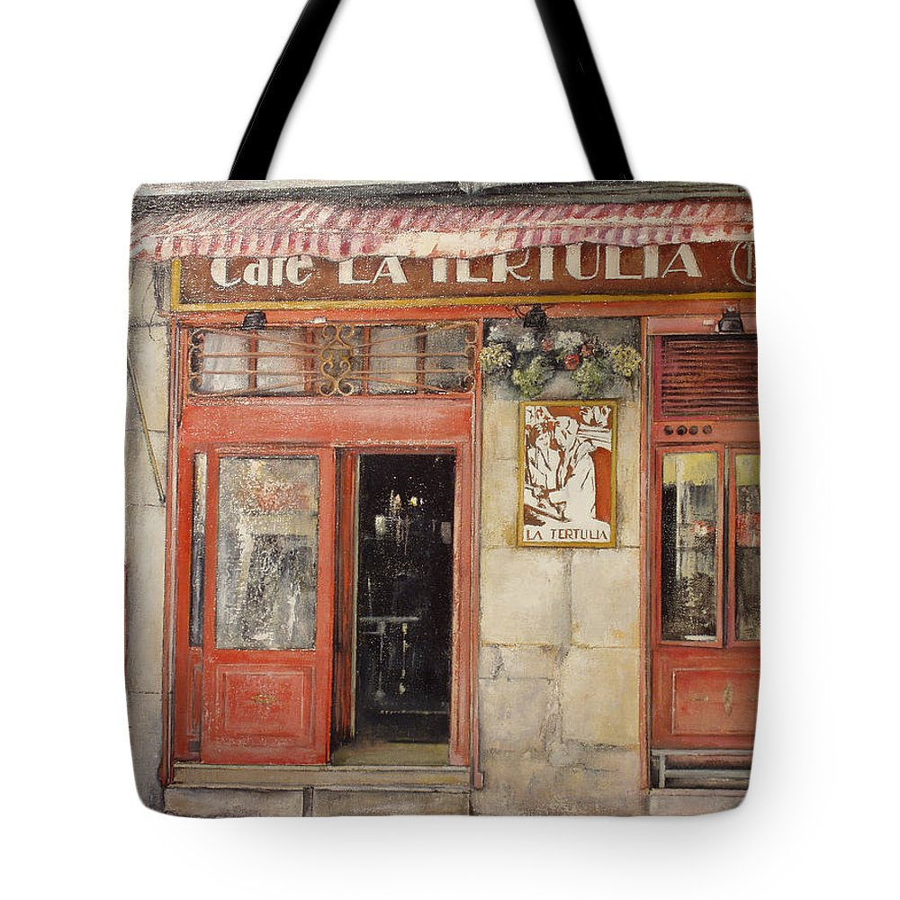 Cafe Tote Bag featuring the painting Old Cafe- Santander Spain by Tomas Castano