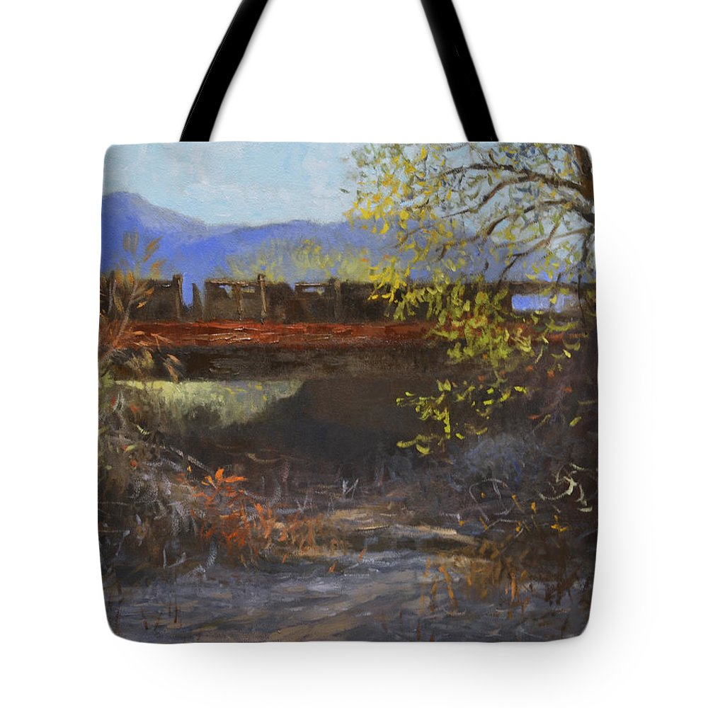 Bridge Tote Bag featuring the painting Old California Bridge by Debra Holladay