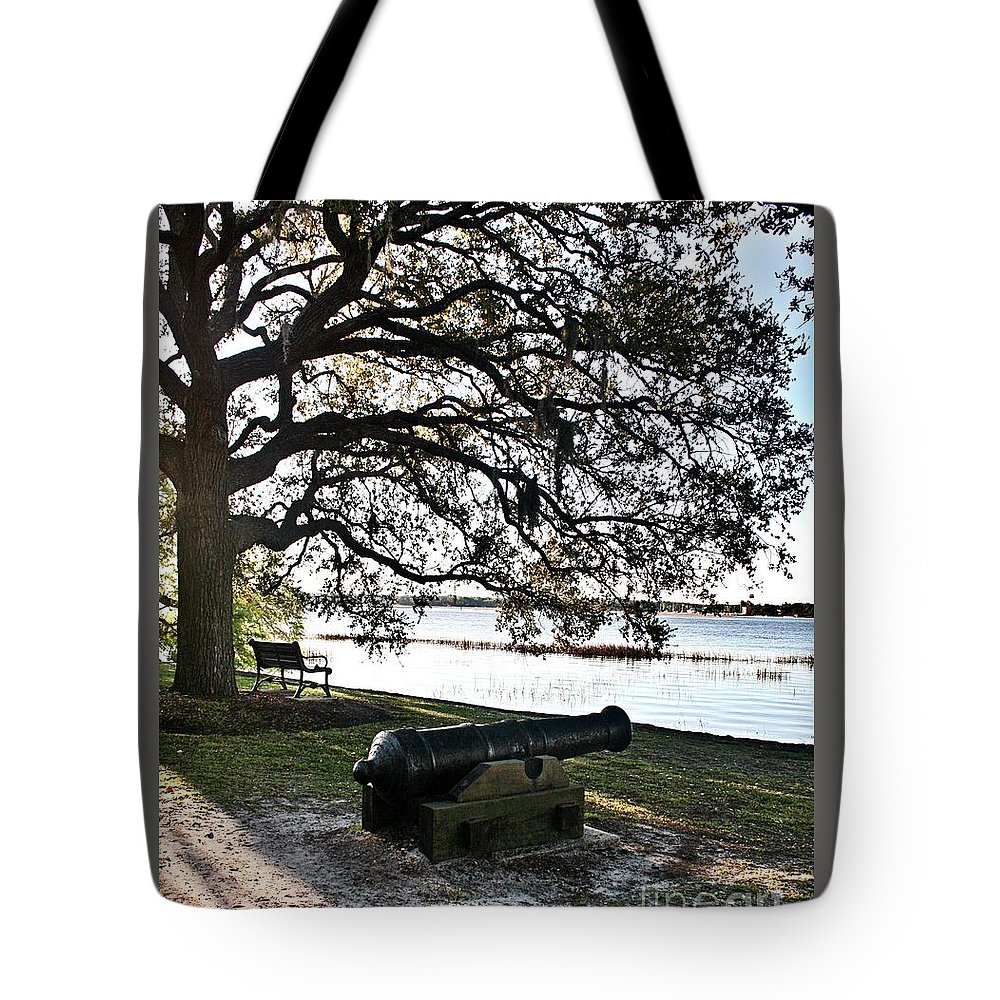 Civil War Tote Bag featuring the photograph Old Cannon By The Sea by Ally Lovensheimer