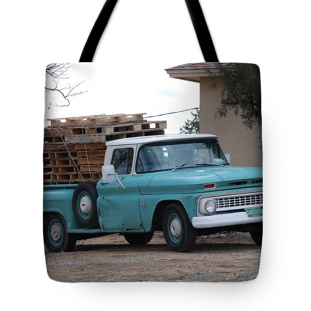 Old Truck Tote Bag featuring the photograph Old Chevy by Rob Hans