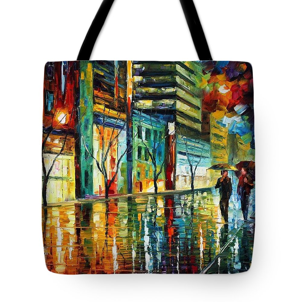Afremov Tote Bag featuring the painting Old City by Leonid Afremov