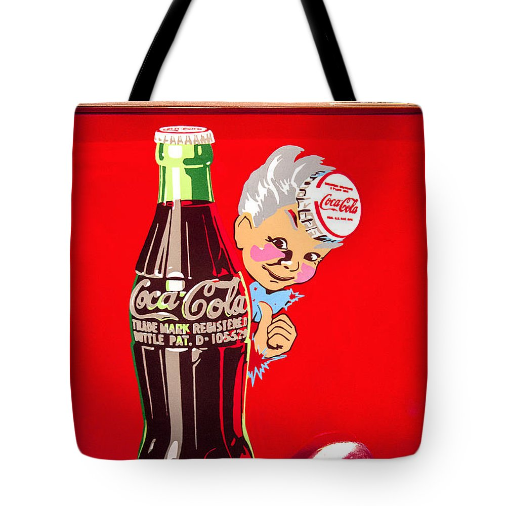 Old Coca-cola Red White Coke Machine Vintage Vendo Model 44 Fine Art Photography Print Tote Bag featuring the photograph Old Coca-cola Red And White Coke Machine Vintage Vendo Model 44 by Jerry Cowart
