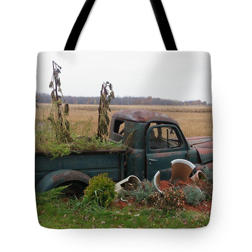 Landscape Tote Bag featuring the photograph Old Dodge New Job by Peggy King