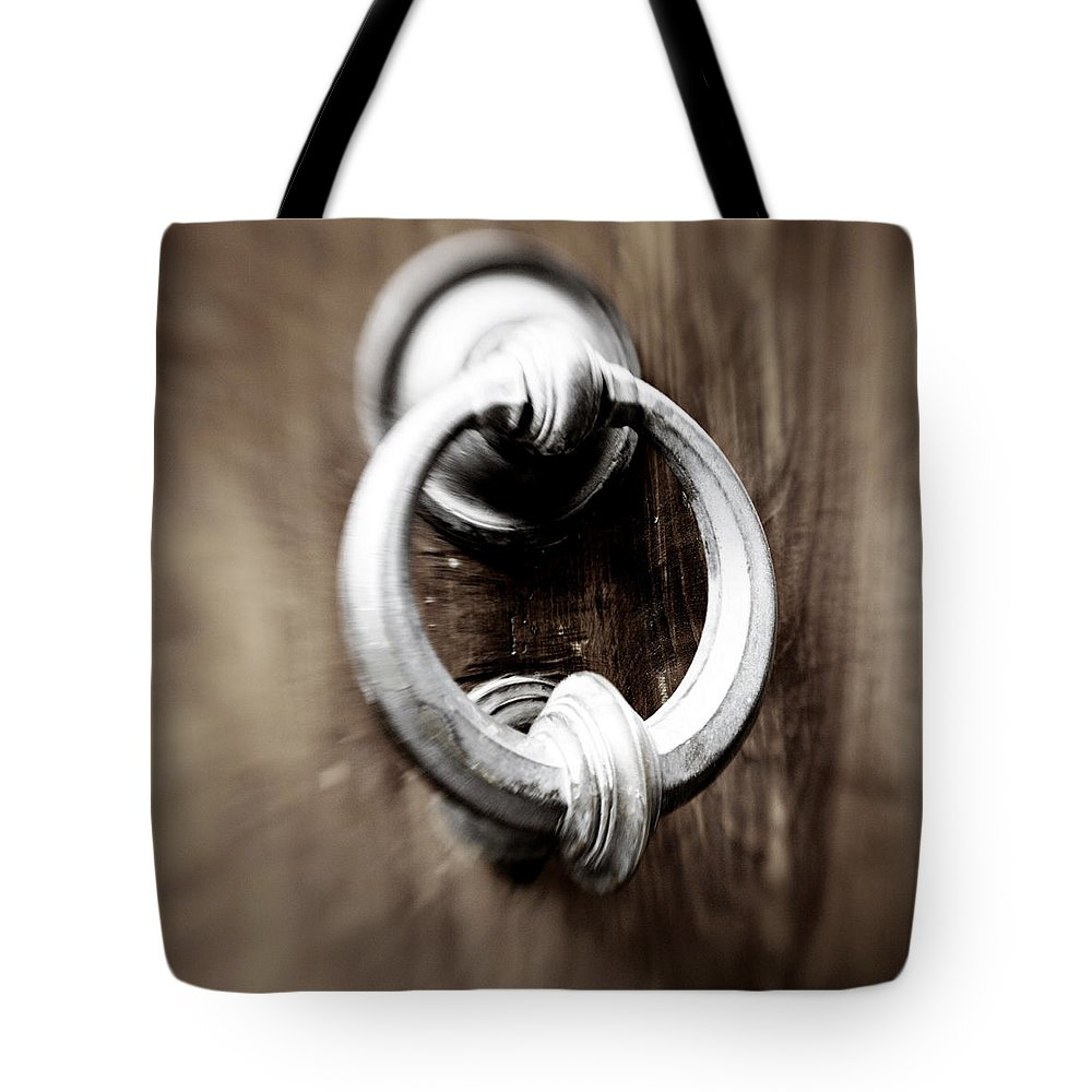 Home Tote Bag featuring the photograph old Door Knocker by Marilyn Hunt