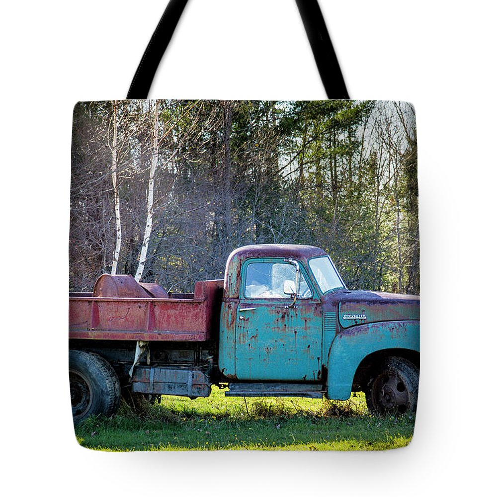 Maine Tote Bag featuring the photograph Old Dump Truck by Alana Ranney