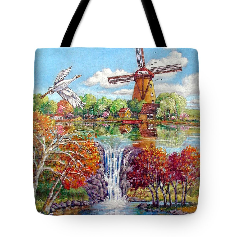Dutch Windmill Tote Bag featuring the painting Old Dutch Windmill by John Lautermilch