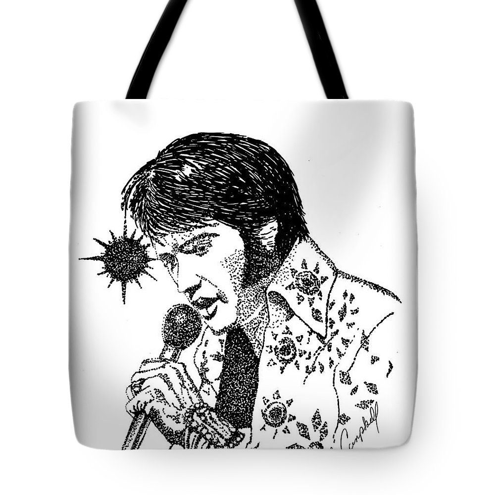 Ink Tote Bag featuring the drawing Old Elvis by Jennifer Campbell Brewer