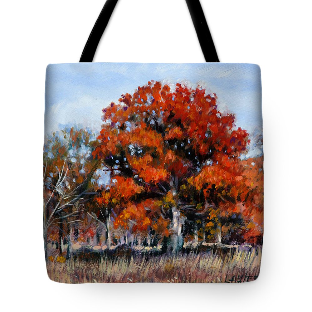 Fall Tote Bag featuring the painting Old Fall Oak by John Lautermilch