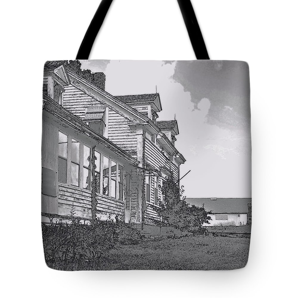 Abandoned Tote Bag featuring the digital art Old Farm Black And White by William Lowe