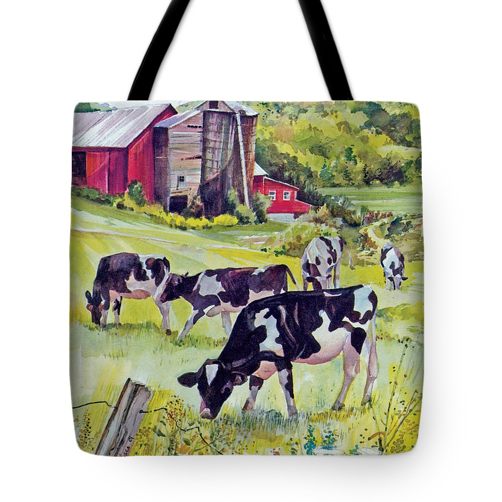 Cows Tote Bag featuring the painting Old Farm by P Anthony Visco