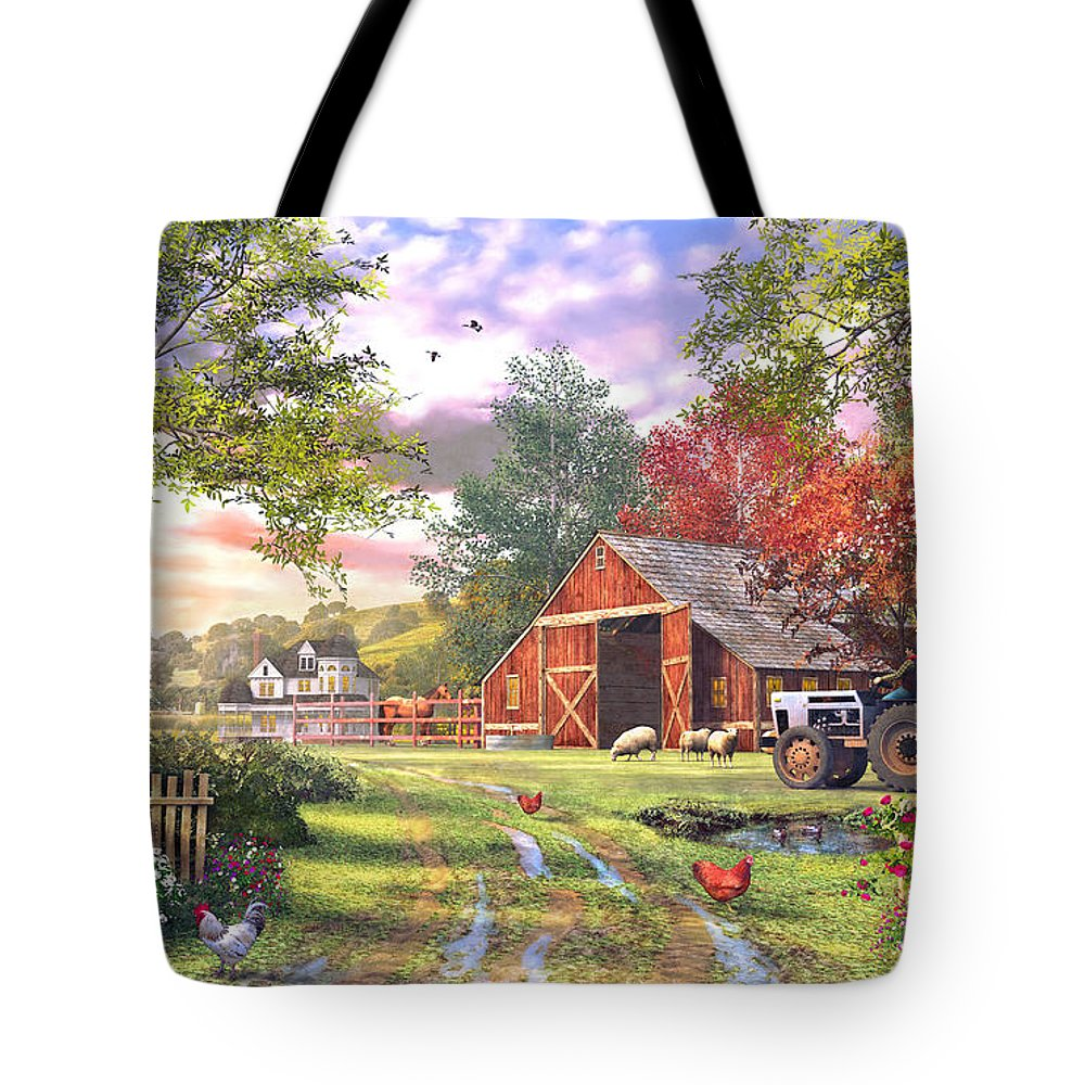 Horizontal Tote Bag featuring the digital art Old Farmhouse by Dominic Davison