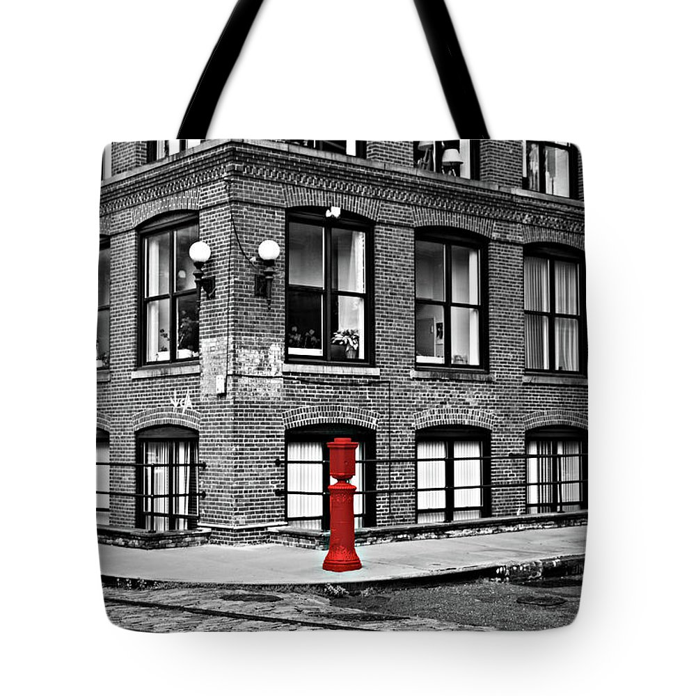 Brooklyn Tote Bag featuring the photograph Old Fire Hydrant In Dumbo Brooklyn by Randy Aveille