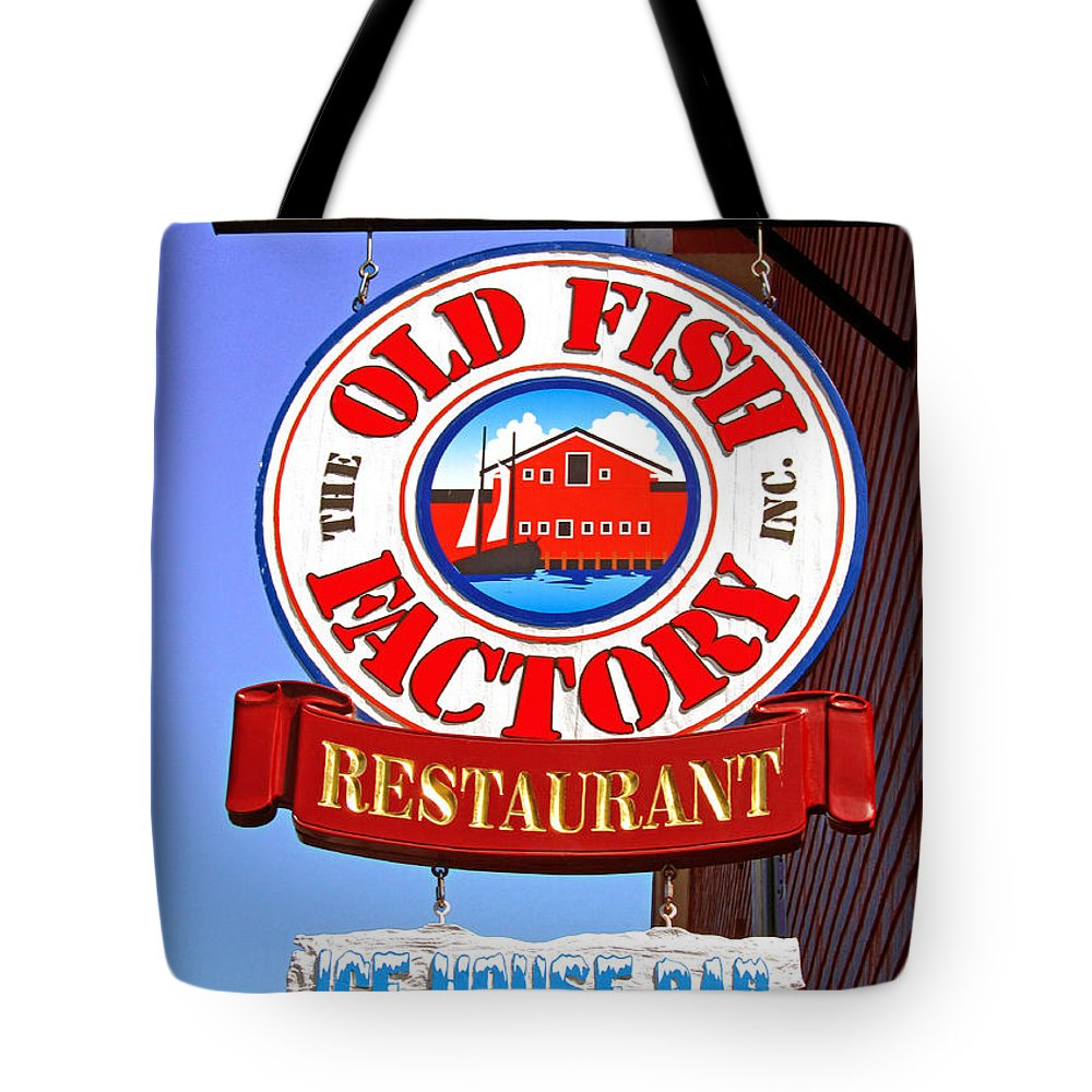 Lunenburg Restaurant Sign Tote Bag featuring the photograph Old Fish Factory Restaurant Sign by Mark Sellers