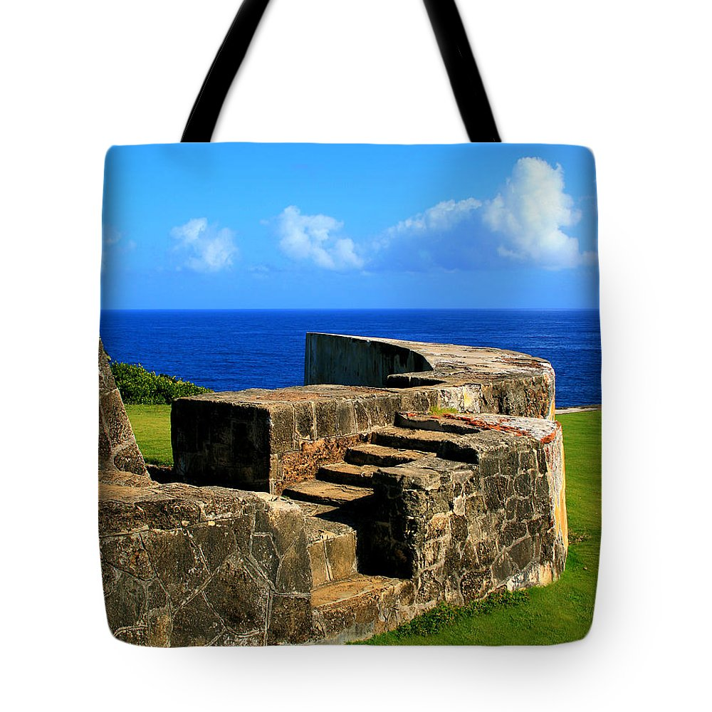 Fort Tote Bag featuring the photograph Old Fort Steps by Perry Webster