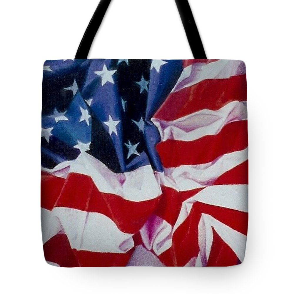 Red Tote Bag featuring the painting Old Glory 1 by Constance Drescher