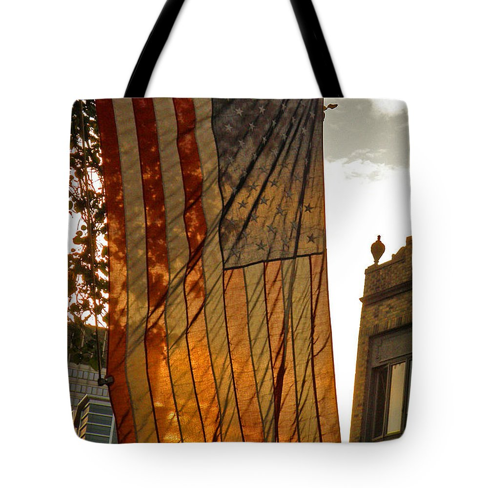 American Flag Tote Bag featuring the photograph Old Glory by Donna Shahan