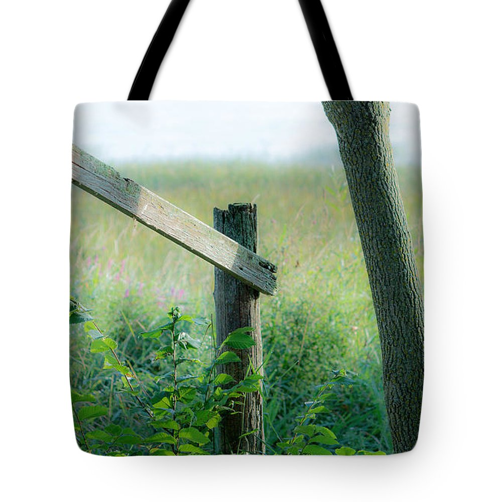 Old Hand Rail Tote Bag featuring the photograph Old Hand Rail by Marc Champagne