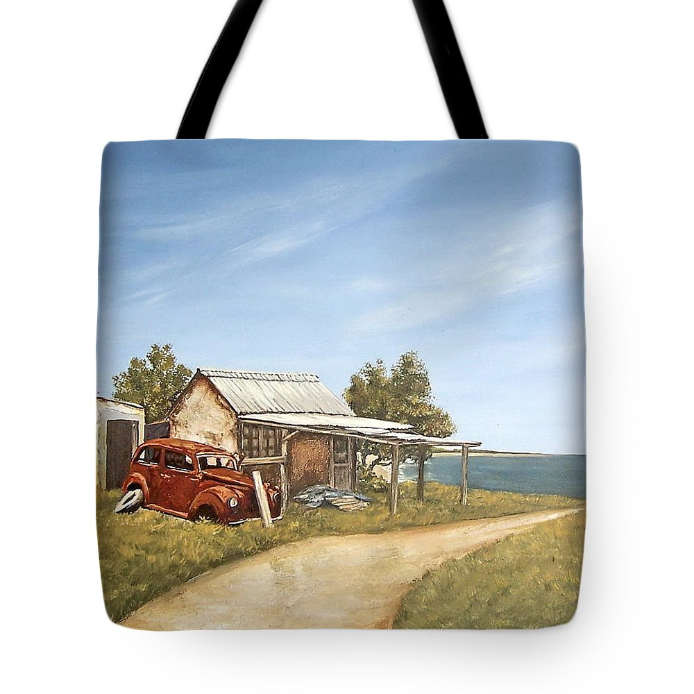 Old House Sea Seascape Landscape Tote Bag featuring the painting Old House By The Sea by Natalia Tejera