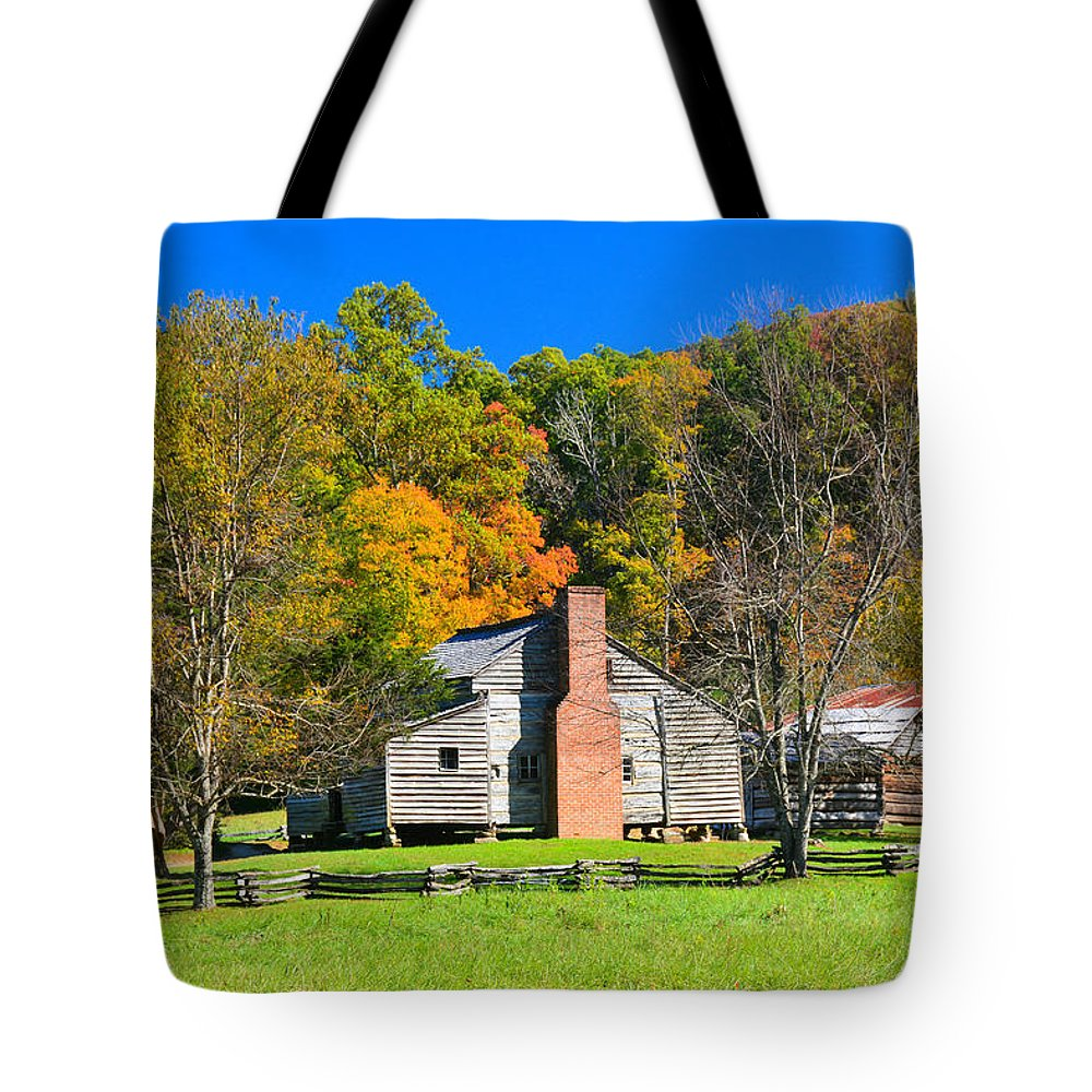 Old House.fall Colors Cades Cove Tn Tote Bag featuring the photograph Old House In Cades Cove Tn by Mike Fairchild